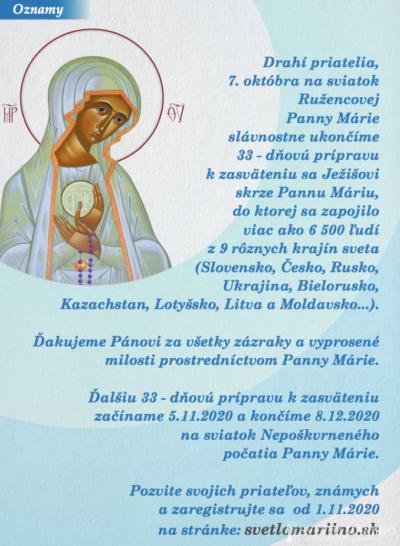 Ukončenie 33-dňove prípravy k zasväteniu