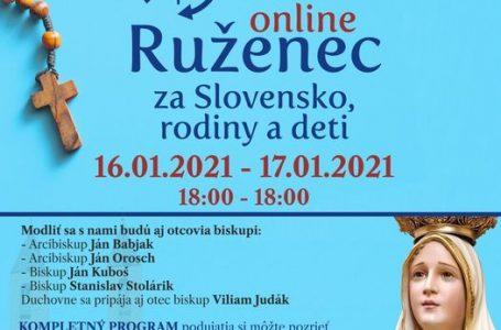24 hodinový Ruženec za Slovensko, rodiny, deti 16.01-17.01
